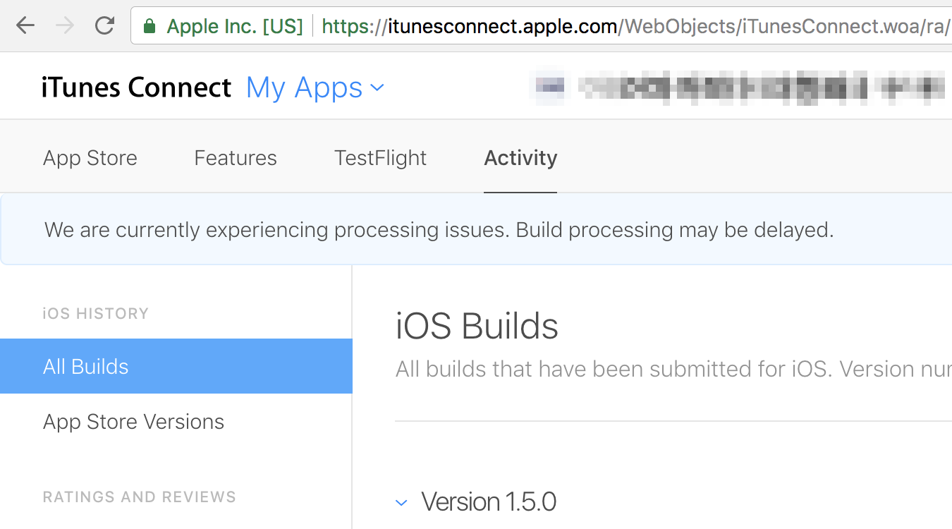 iTunes Connect - Activity